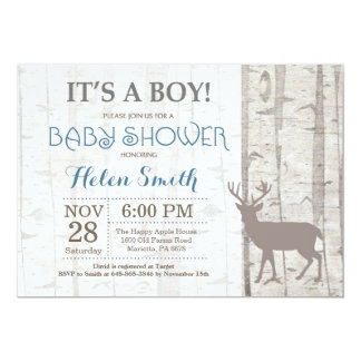 Deer Boy Baby Shower Invitation Rustic Woodland
