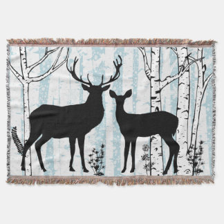 Deer Buck and Doe Birch Forest Throw Blanket
