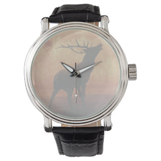 Deer Buck Antlers Wildlife Background Men's Watch