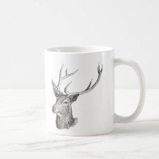 Deer Buck Head with Antlers Drawing Coffee Mug