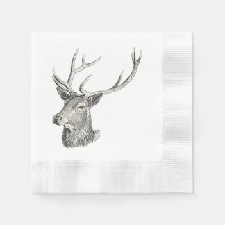 Deer Buck Head with Antlers Drawing Disposable Napkins