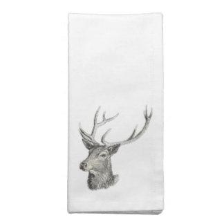 Deer Buck Head with Antlers Drawing Printed Napkin