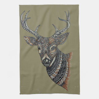 Deer Buck with Intricate Design Kitchen Towels