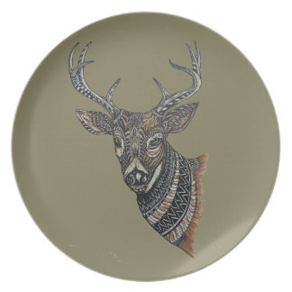 Deer Buck with Intricate Design Plate