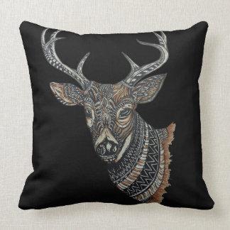Deer Buck with Intricate Design Throw Pillow