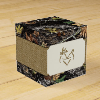 Deer Burlap Hunting Camo Wedding Favor Boxes
