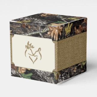 Deer Burlap Hunting Camo Wedding Favor Boxes