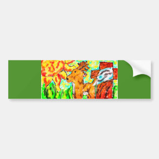Deer by cross art bumper sticker