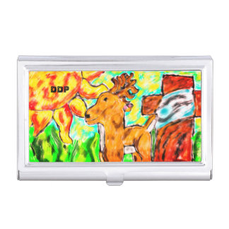 Deer by cross art business card holder