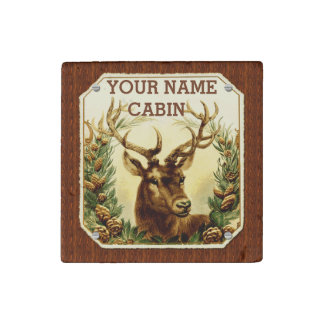 Deer Cabin Personalized with Wood Grain Stone Magnets