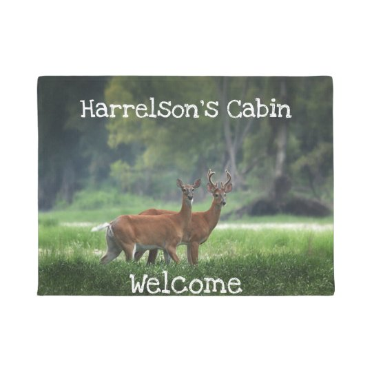 Deer, Cabin, Rustic, Welcome, Custom Doormat