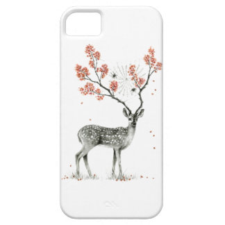 Deer cell phone case with flowers on horns