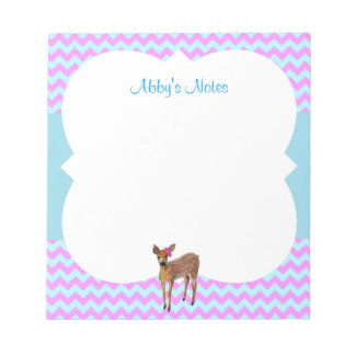 Deer Chevron Cotton Candy Personalized Notepad
