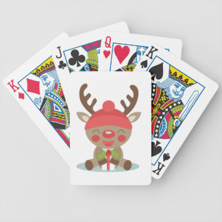 deer christmas bicycle playing cards