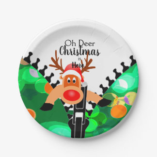 Deer Christmas is Here Holiday Paper Plate