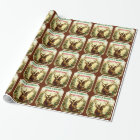 Deer Christmas Personalized with Wood Grain Wrapping Paper
