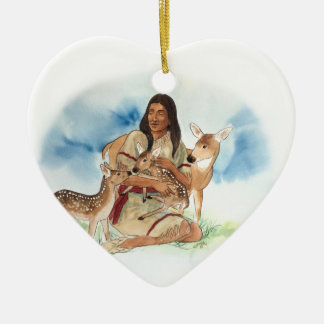 Deer Clan Mother With Her Fawns Ceramic Ornament