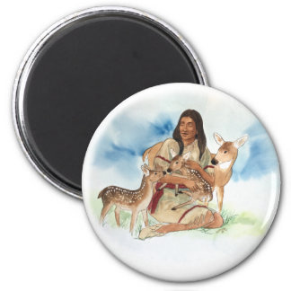 Deer Clan Mother With Her Fawns Magnet