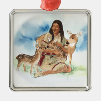 Deer Clan Mother With Her Fawns Metal Ornament
