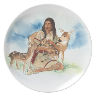 Deer Clan Mother With Her Fawns Plate
