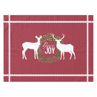 Deer Cranberry Red Peace Joy  Wreath Tablecloth