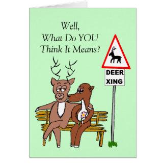 Deer crossing/kissing (UK) Card