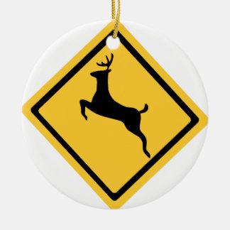 Deer Crossing Symbol Round Ceramic Ornament