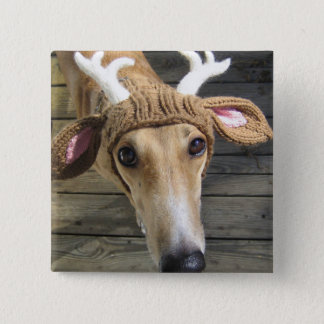 Deer dog - cute dog - whippet 2 inch square button