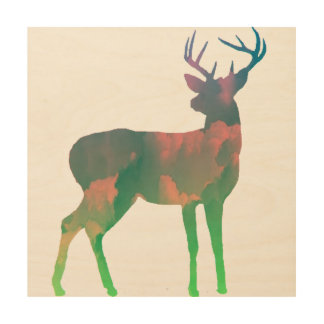 Deer Dreaming Wood Print