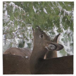 Deer Eating Cedar Branches Printed Napkin
