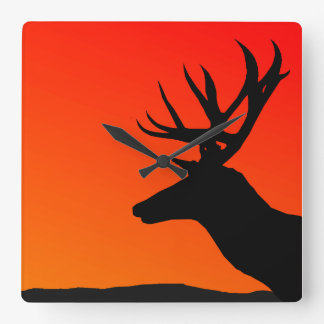 Deer Elk Silhouette Man Cave Design Square Wall Clock