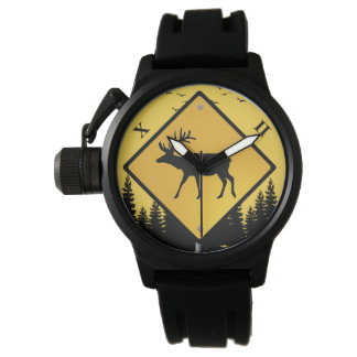 deer elk warning sign watch