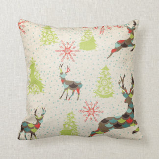 Deer, Evergreen Trees, and Snowflakes Throw Pillow