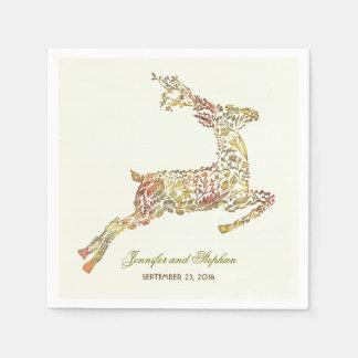 Deer Fall Woodland Wedding Paper Napkins