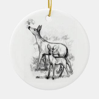 Deer Family Ceramic Ornament