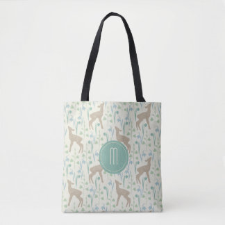 Deer Fawn and Flowers Monogram Tote Bag