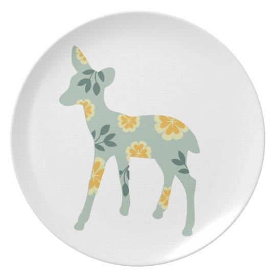 Deer fawn silhouette cute folk art nature pattern plate