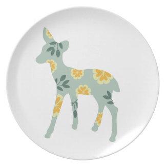 Deer fawn silhouette cute folk art nature pattern plates