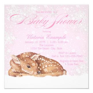 Deer Fawn Winter Wonderland Baby Shower Invitation
