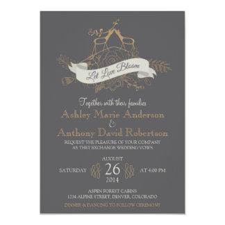 "Deer Floral Mountain Woodsy Alpine Wedding 5"" X 7"" Invitation Card"