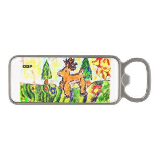 Deer forest art magnetic bottle opener
