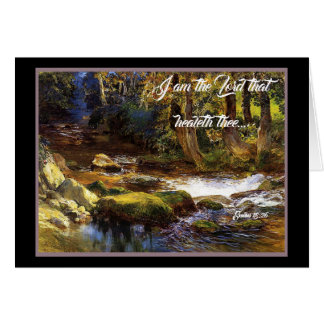 Deer Forest Stream Trees God Heals Card