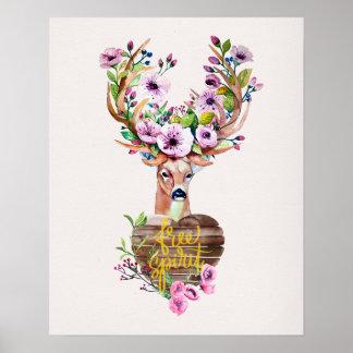 Deer Free Spirit Watercolor Design Poster