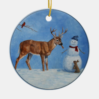 Deer & Funny Snowman Christmas Round Ceramic Ornament