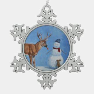 Deer & Funny Snowman Christmas Snowflake Pewter Christmas Ornament