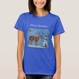 Deer & Funny Snowman Christmas T-Shirt