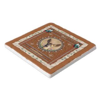 Deer -Gentleness- Marble Stone Cork-Backed Trivet