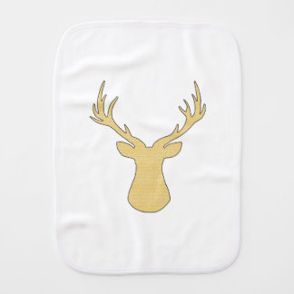 Deer - geometric pattern - beige and white. burp cloth