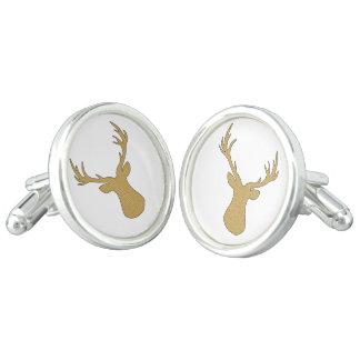 Deer - geometric pattern - beige and white. cufflinks