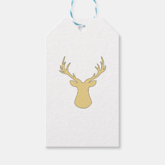 Deer - geometric pattern - beige and white. gift tags